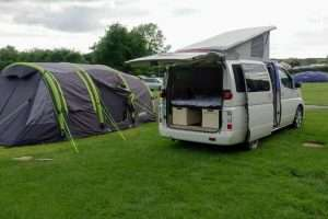 Elgrand on the campsite with roof box