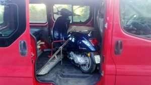 Vespa and campal unit in car